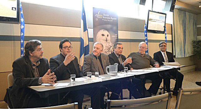Robert Laplante, directeur de la revue Action nationale, Maxime Laporte, président de la SSJB de Montréal, Roger Kemp, président de la SSJB de la Mauricie, Jacques Tétreault, porte-parole du Regroupement vigilance hydrocarbures Québec, Yves Rocheleau, membre du conseil d'administration de la SSJB de la Mauricie, et Guy Rousseau, directeur général de la SSJB de la Mauricie. Photo: Sylvain Mayer